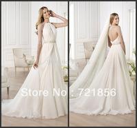 2014 Newest Elegant See Through Long Sleeve Bling Bling Beads Crystal Sheer Back Long Veil Long Elie Saab Wedding Dresses ES-01