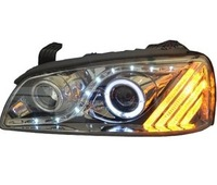 Car Headlight Assembly Angel Eyes Halogen LED Projector Headlight for 2009 Hyundai Elantra