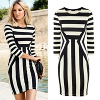 New Fashion Women Celeb Bodycon Dress Striped Crew Neck 3/4 Sleeve Clubwear Mini Dress Black and White
