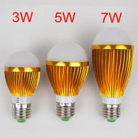 5pcs/lot LED bulb WARM WHITE 3W 5W 7W high brightness  Aluminum bulb lamp AC220V