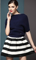 New 2013 Fashion vintage high waist puff skirt  stripe short skirt for women