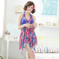 Big 2014 plus size swimwear women's one-piece dress mm super large swimsuit flower print L-5XL halter ruffle