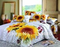 Good quality & cheap ! 100% Cotton Sunflower 3D print 4pcs 3d bedding sets