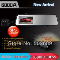 New 6000A Car Rearview Mirror Camera Recorder DVR Dual Lens 4.3' TFT LCD HD 1920x1080p Rear view camera 720P with GPS G-sensor