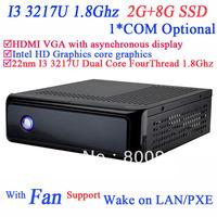 DIY Mini ITX Based Computer IN-3217u with Intel 22NM I3 3217U dual core four thread processor 1.8GHz TDP 17W 2G RAM 8G SSD