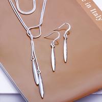 925 silver Women's aciculiform pendant necklace&Earrings set,Factory Lowest price Wholesale 925 silver Fashion Jewelry Set ,