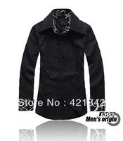 big sale!Free Shipping 2013 Mens Slim fit Unique neckline stylish Dress long Sleeve Shirts Mens dress shirts 2colors size: M-XXL