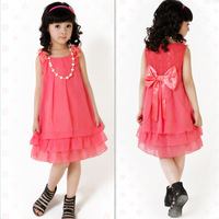 2014 Summer Kid's Dress Chiffon Lace Lovely Bow Casual Sleeveless Princess Baby Girl Children's Dresses Clothing Pink/Red