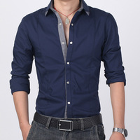 2013 autumn male shirt casual plus size plus size long-sleeve slim plus size shirt male