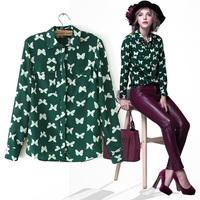 new spring summer new womens 2014 fresh green butterfly print long-sleeve chiffon shirt female free shipping