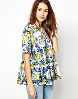 146731 Euro Fashion Style O-neck Short Sleeve Flower Print Pleated Dress Women Casual Elegant Dress 100% New