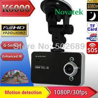 2014 New Free shipping car dvrs 1080P full HD Mini Car DVR Video Camera Recorder with 1920*1080P 25FPS 2.7 inch TFT Screen K6000