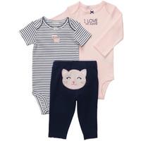 BA007 Free shipping 5sets/lot original carter's baby 3 pcs bodysuit with pants suit cute cat design baby clothing set wholesale