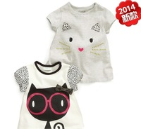2014 cute baby girl T shirt Tees Tops short sleeve fashion cat cotton children clothes kids clothing summer