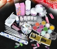 2014 Free Shipping Acrylic Powder Liquid Brush Glitter Clipper Primer File Nail Art Tips Set Kit HOt Sale