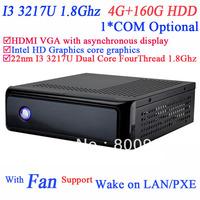 INCTEL IN-3217u Small ITX PC with Intel 22NM I3 3217U dual core four thread processor 1.8GHz TDP 17W 4G RAM 160G HDD