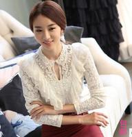 Autumn women's lace shirt top handmade beading slim lace long-sleeve basic shirt t-shirt