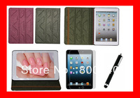 2014 For Apple New Model iPad Air Case With 2 Sides Leather Smart Cover Function Defender+1Protector+1Stylush Free Shipping