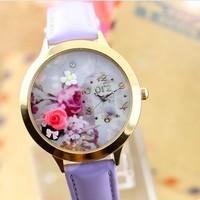 Free Shipping Women Dress Watches Cherry Purple Watchband Polymer Clay Quartz Leather Strap Casual Relogio Feminino Wristwatches