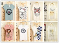 2014 new summer shirt bat loose round neck short sleeve thin women cartoon printed T-shirt Z2002