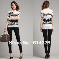 New Brand Design Euro Style Women Shirt 2014 Spring V-Neck Printed Horse Button Elegant Blouse Women Clothing