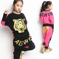 New Design Child Spring 2014 Children's Clothing Spring and Autumn Female Child Sportswear Baby Batwing Shirt Set  Free Shipping