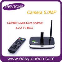 CS918S Andriod 4.2 Quad Core Smart Android TV Box 2GB RAM 16GB ROM Camera 5.0MP  XBMC Bluetooth MIC 3G 4K WIFI Free shipping