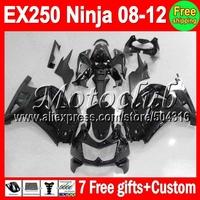 7gifts+ gloss blk For Kawasaki 08 09 10 11 12 Ninja  EX250R 18#259 EX250 EX 250 all black Kit Fairings 2008 2009 2010 2011 2012