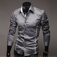 2013 Perfect clipping fashion men shirt men's leisure long-sleeved shirts men M-XXXL