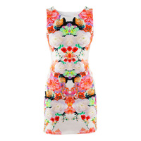 2013 fashion multicolour flower slim hip sleeveless one-piece dress hm85