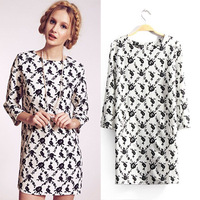 2014 spring and summer women's fashion rhombus flower print one-piece dress three quarter sleeve short skirt