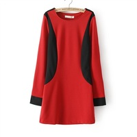 Fashion women's 2013 fashion color block decoration color block slim all-match knitted one-piece dress