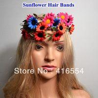 2014 NEW 20pcs/lot girl's sunflower FLOWERS headbands Bohemia Braids hair bands free shipping