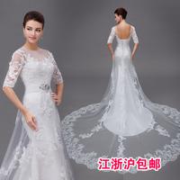 2013 half sleeve vintage lace train wedding dress formal dress princess bride autumn and winter fish tail