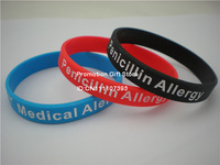 Medical Alert! Penicillin Allergy Bracelet, Silicon Wristband, 202X12X2MM; 3 Colours, 100PCS/Lot, Free Shipping