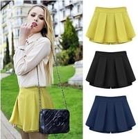 S-XXL 2014 new chiffon casual skirts   female shorts culottes women summer chiffon cheap plus size high waist shorts brands