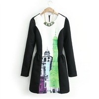 2014 spring fashion women's black and white colorant match fashion print o-neck long-sleeve dress