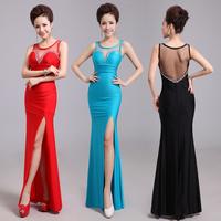 The  evening dress formal dress long design deep V-neck 2014 new arrive  blue dresses