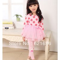 2014 spring new arrival children clothing long sleeve sweet princess palka dot bow cotton dress and pants girls sets 3T-10