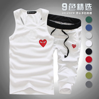 Cheap wholesale Free free shipping (9 colors)  2014 New summer fashion Men's sports suit (Vest + pants)  Men's cotton sportswear