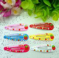 Free shipping!Very popular children's hair clips, 5cm BB clip-cartoon fruit-printing strawberry,6 color random mixing,50PCS/lot