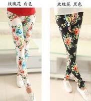 P227  Free Shipping Autumn Winter Flower Pattern Print Fashion Women's Leggings Show Thin Black Skinny Pants 4 Colors
