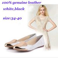 2014New Arrival Spring&Autunm Women Flats Luxury Design 100% Genuine Leather +Metal Brand Women Shoes White,Black,Eur Size 34-40