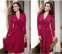 cheap women dresses new fashion 2014 long sleeve v-neck pleats lacing Knee-length skater dress