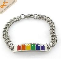 316L Titanium Steel bracelet, Mens design, with rainbow enamel, 1.3cm, approx 8.5 inch per strand, sold by lot(10 strands/lot)