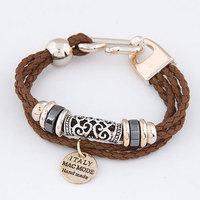 2014 New Brand Fashion leather Bracelet Men Jewelry Handwork Weave multilayer bracelets bangles For Women loom bands Wholesale