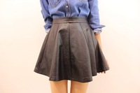 2013 skin water washed leather high waist bust skirt patchwork slim hip leather skirt short skirt