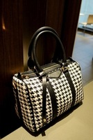 2013 fashion british style plaid woolen bucket bag pillow pack handbag messenger bag women's houndstooth pattern handbag