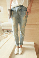 Free Shipping Boyfriend loose hole light color harem pants jeans 3059