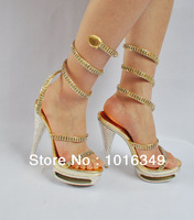 HOT!2014 New arrive Limited quantity Sexy fashion Crystal Diamond Sandals 15CM Ultra-high Banquet women Sandals genuine pumps